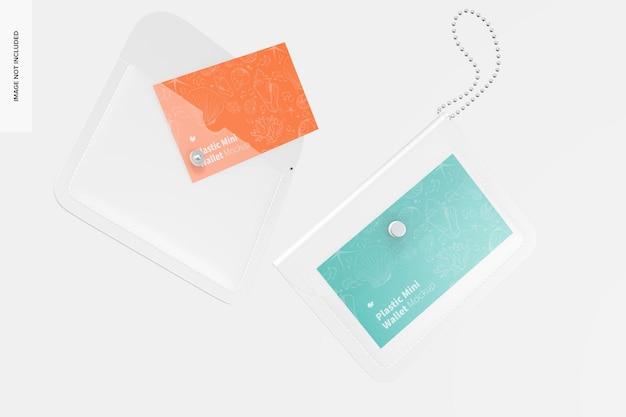 Women plastic mini wallet mockup, floating