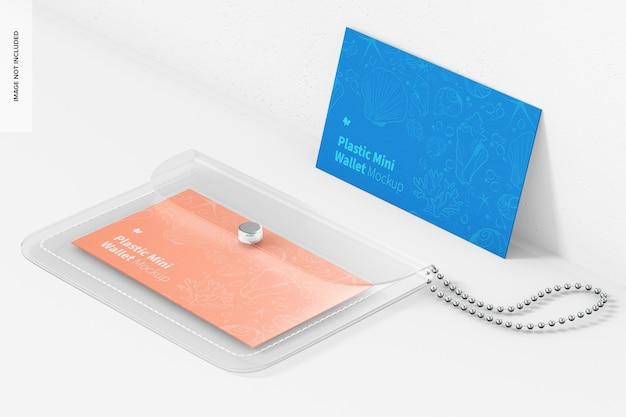 Women plastic mini wallet mockup, perspective