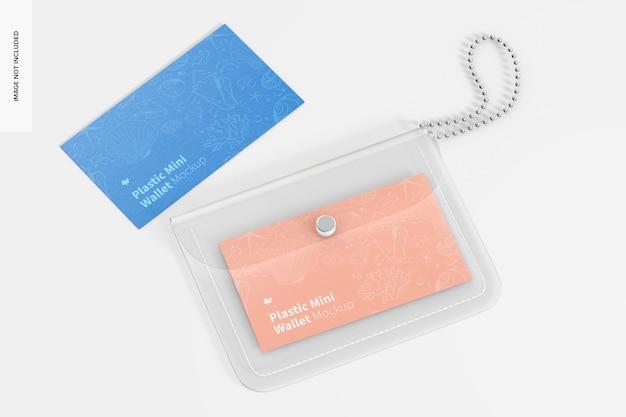 Women plastic mini wallet mockup, top view