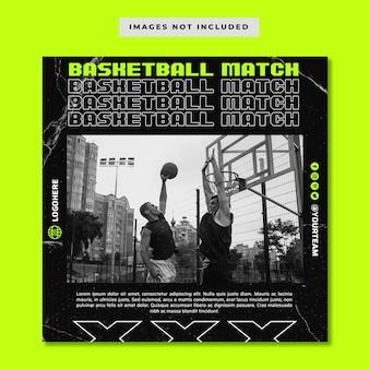Женский баскетбол gameday в социальных сетях instagram баннер шаблон