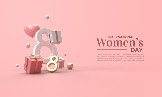 Women's day 3d render in gold and and white numerals