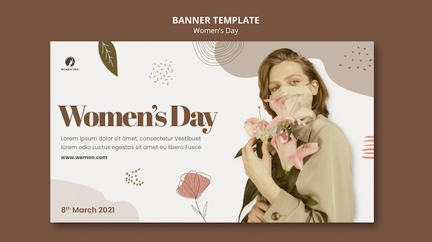 Women's day banner template with photo