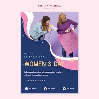 世界を駆け巡る女性の日のポスター