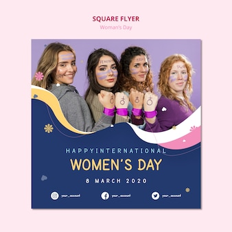 Women's day square flyer powerful females