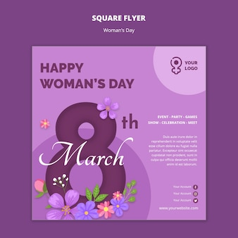 Women's day square flyer template