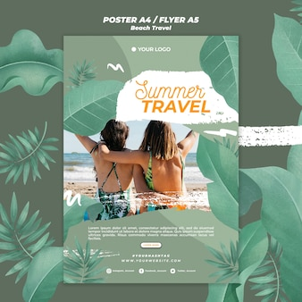 Women together summer travel poster template