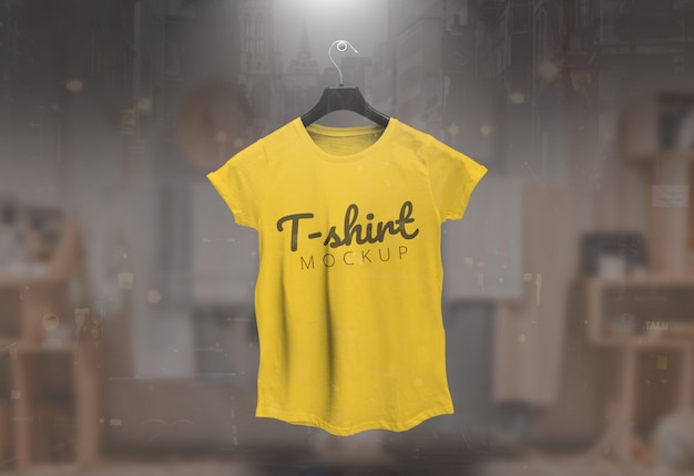 Women tshirt mockup female tshirt mockup yellow