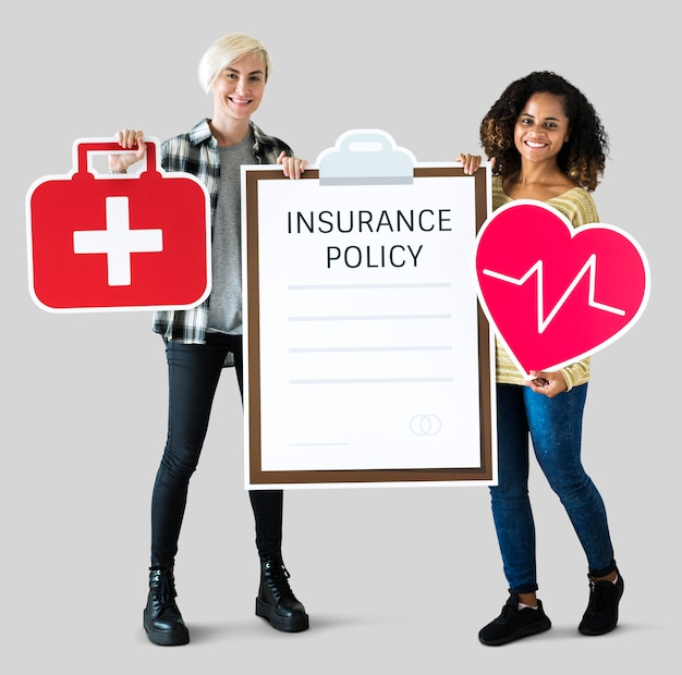 Women with health insurance icons
