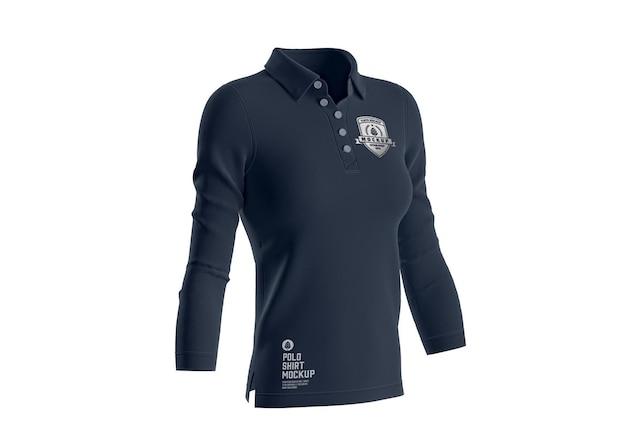 Womens short sleeve polo shirt mockup front side