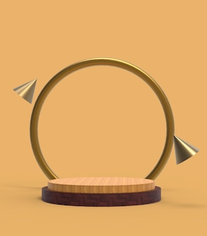 Wood 3d rendering of abstract scene geometry shape podium for product display