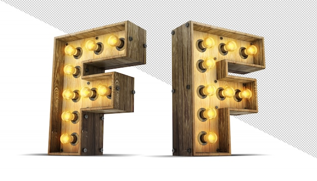 나무 알파벳 전구 3d 렌더링 그림