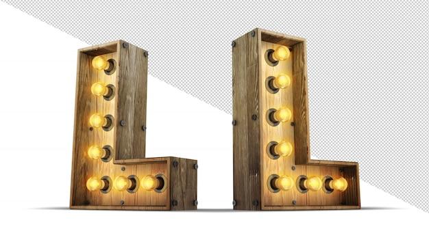 Wood alphabet light bulb 3d rendering illustration