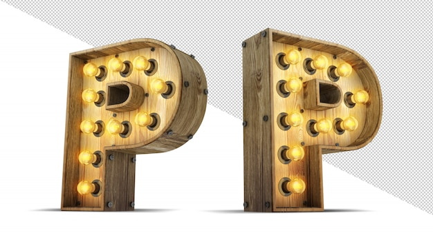 Wood alphabet light bulb 3d rendering illustration