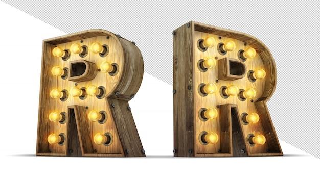 Деревянная иллюстрация перевода лампочки 3d алфавита