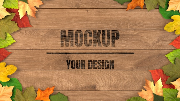 Wood background mockup with maple leaves