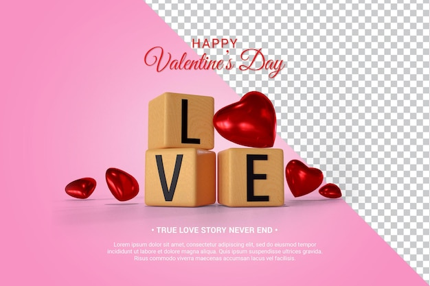 Wood block with text and hearts 3d render isolated