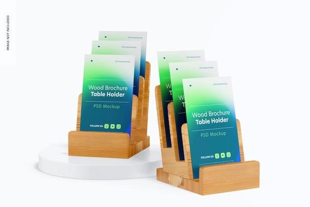 Wood brochure table holder mockup