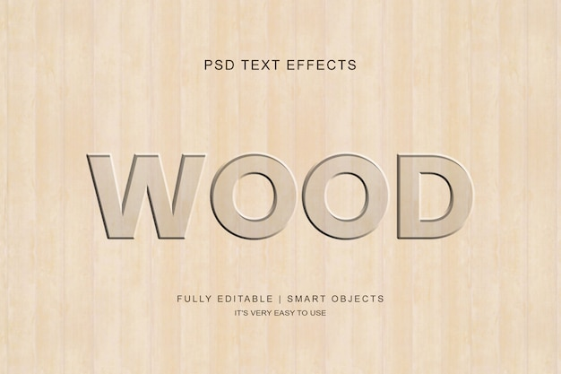 Wood carved text effect