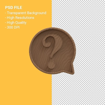 Wood carving question mark notification 3d icon isolated
