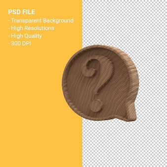 Wood carving question mark notification 3d icon isolated Premium Psd