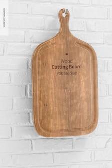 ハンドルモックアップ付き木製まな板、傾いた
