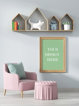 Wood frame mockup in kids living room with decorated shelves and armchair