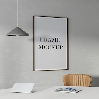 Wood frame mockup on the wall with lamp