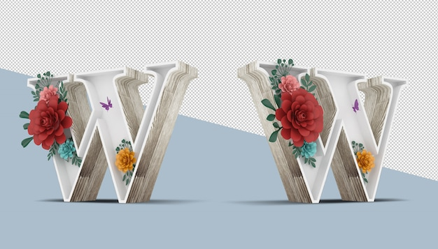 Wood letter with colorful flower decoration