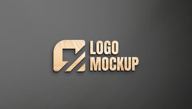 Wood logo mockup on hd wall