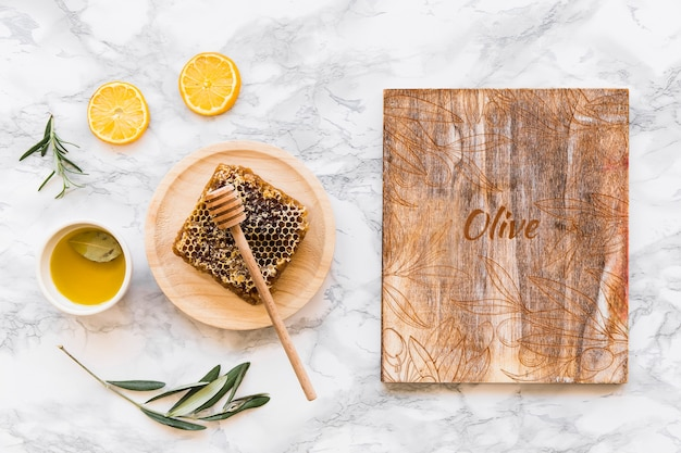 Wood mockup with olive oil concept
