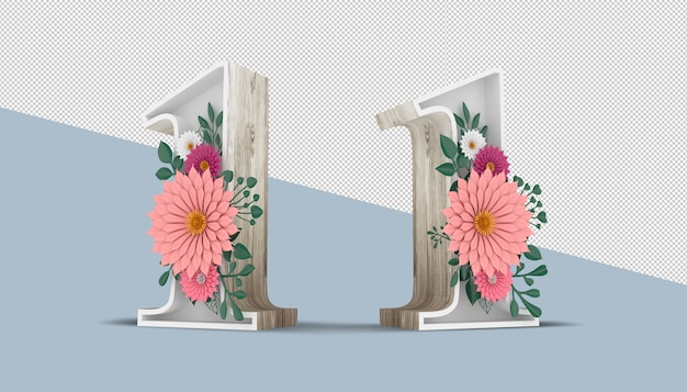Wood number 1 with colorful flower decoration, 3d rendering