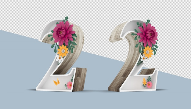 Wood number 2 with colorful flower decoration, 3d rendering