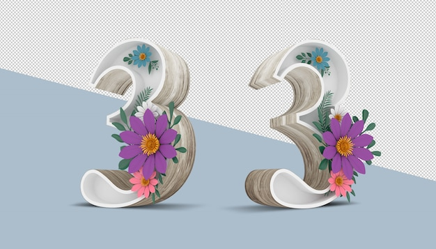Wood number 3 with colorful flower decoration, 3d rendering