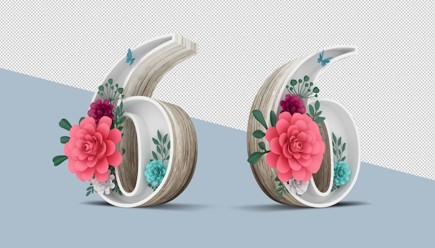 Wood number 6 with colorful flower decoration, 3d rendering