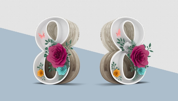 Wood number 8 with colorful flower decoration, 3d rendering