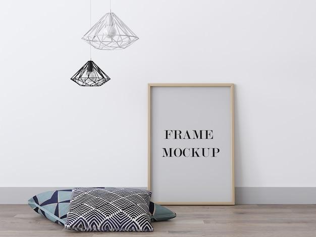 Деревянная рамка для фотографий рядом с подушками, 3d-рендеринг, макет