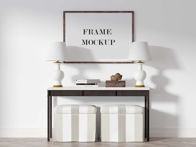 Wood picture frame mockup above console table