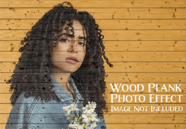 木の板の写真効果のモックアップ