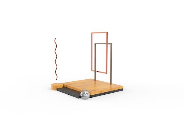 Wood podium 3d render design rendering
