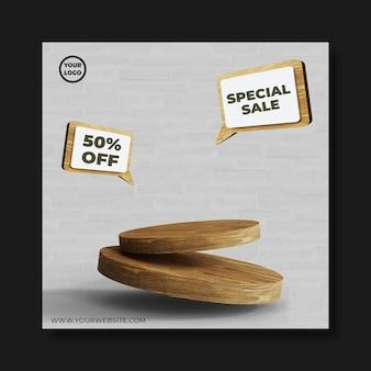 Wood podium for your product percentation