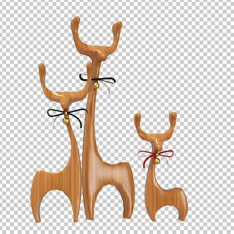 Деревянный олень в 3d-рендеринге