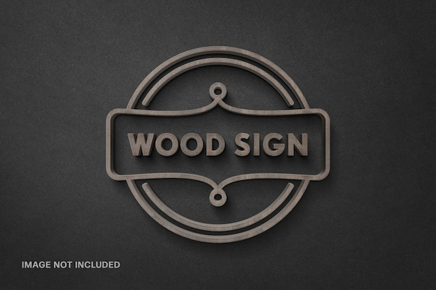 Wood sign logotype mockup