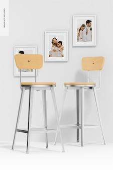 Мокап деревянных стульев