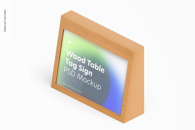 木製テーブル広告タグサインモックアップ、等尺性左側面図