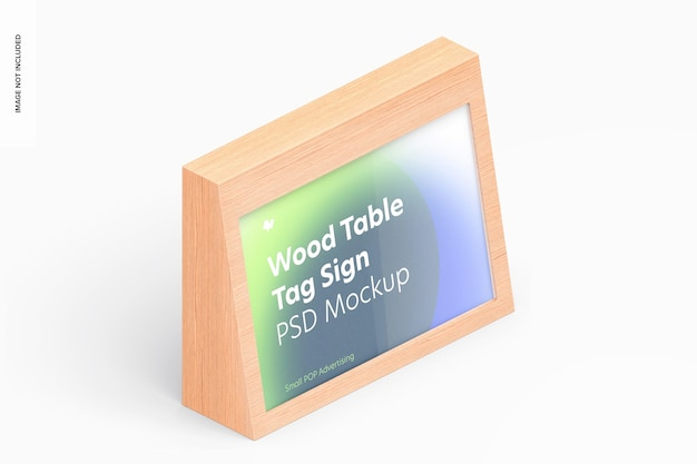 Wood table advertising tag sign mockup, isometric right view