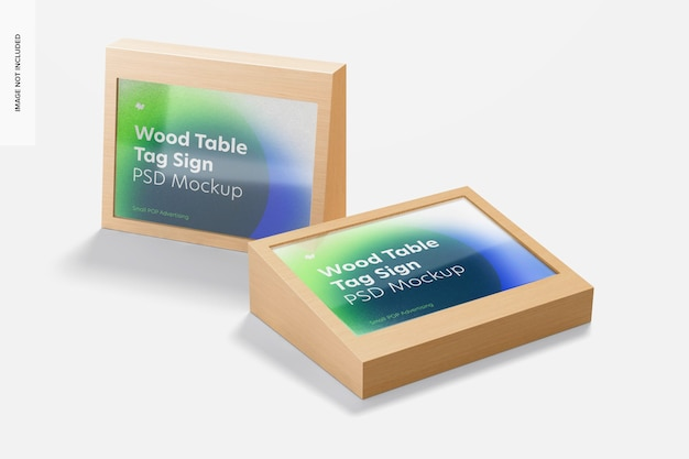 Wood table advertising tag signs mockup, perspective