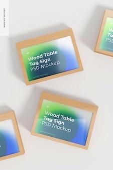 Wood table advertising tag signs set mockup