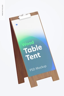 Wood table tent with clip mockup, floating