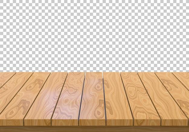 透明な背景に分離された木製テーブルトップ