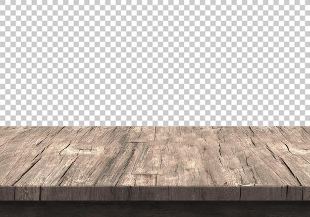 투명에 고립 된 나무 테이블 탑